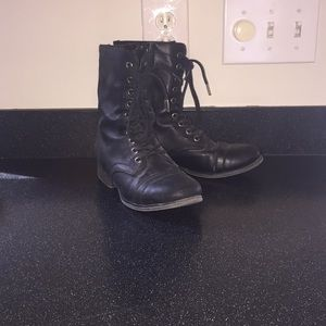 Black (fake) leather combat boots with little wear